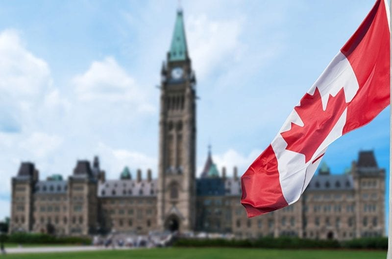 Canadian flag, with Parliament Buildings in the background