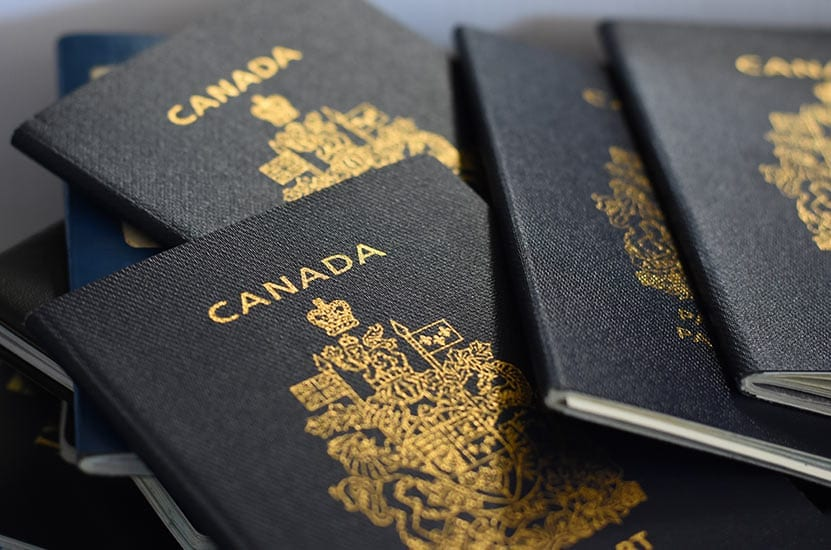 A pile of Canadian passports